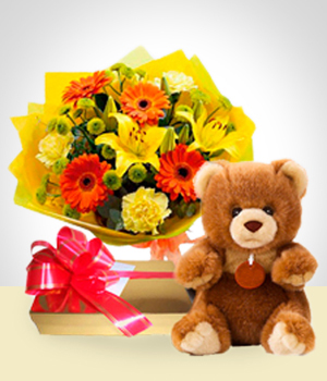 Plush Toys - SPECIAL: Spring Bouqet + Teddy Bear + Chocolates