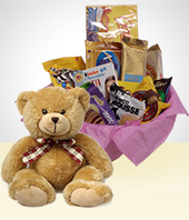 Anniversary - Combo Tenderness:  Delicious  Chocolates  Basket + teddybear