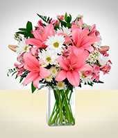 Flower Arrangements - Daisies And Lilies Arrangement