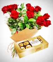 Chocolates - Perfect Match Combo: 12 Roses Bouquet + Chocolates