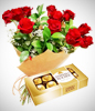 Perfect Match Combo: 12 Roses Bouquet + Chocolates