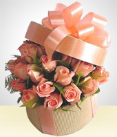 Flowers - Rosalie: Pale peach  Roses in a Box or Basket