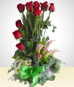 Send Flowers to :  Variety: Arrangement of Roses and Lilies of the Nile: