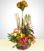 Flower Arrangements - Spring Bouquet with Bamboo Sticks