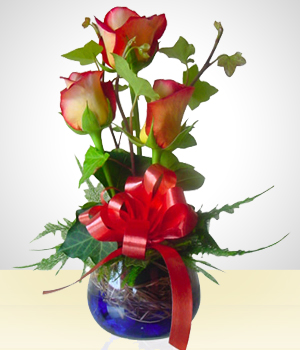 Send Flowers to :  Glass Bowl with Roses