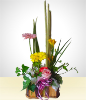 Gerbera daisies - Rustic Vase Heart Shaped Flower Arrangement