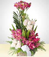 Condolences - Flower Arrangement with purple Alstroemerias and Lilies