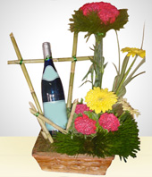 Carnations - Carnation Arrengement with White Wine