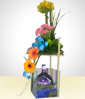Gifts for Men - Beautiful Wine and Flower Arrangement