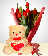 Plush Toys - Romance Combo: 6 Roses Bouquet + Teddy Bear