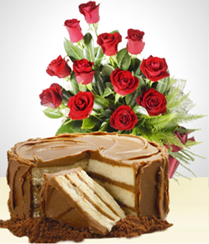 Send Flowers to :  Sweetness Combo: Cake + 12 Roses Bouquet