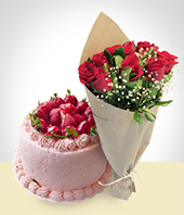 Cakes - Special Offer: Strawberry Cake + 6 Roses Bouquet