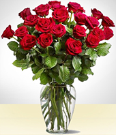 Spring Flowers - Majestic 24 Red Roses