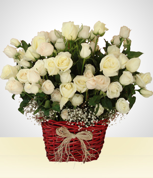 Send Flowers to :  Champagne Impact: 100 White Roses Arrangement