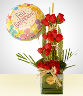 Birthday - Illusion Arrangement:  Balloon + 24 Roses
