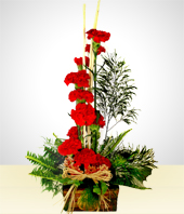 Flower Arrangements - Insatiable: 12 Carnations in a Rustic Base