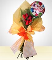 Flower - Birthday Detail: 6 Roses Bouquet + Happy Birthday Balloon