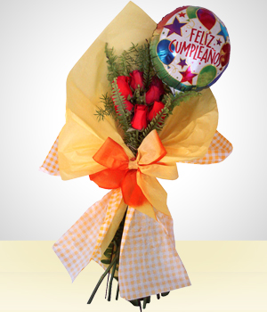 Flores :  - Detail Birthday: 6 Roses Bouquet +Happy Birthday Balloon