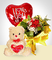 Bears & Balloons - Tenderness Combo: 6 Roses Bouquet + Balloon + Teddy Bear