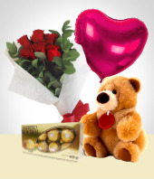 Birthday - Silver Valentine Combo: 6 Roses Bouquet + Balloon + Teddy Bear+ Heart Chocolate box