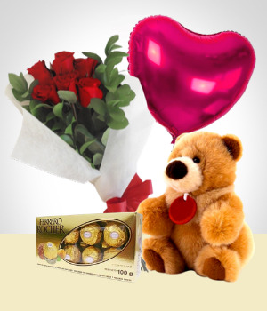 Send Flowers to :  Silver Valentine Combo: 6 Roses Bouquet + Balloon + Teddy Bear+ Heart Chocolate box