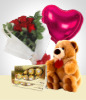 Silver Valentine Combo: 6 Roses Bouquet + Balloon + Teddy Bear+ Heart Chocolate box