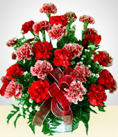 Flower Arrangements - Red Illusion: Red & Pink Carnations