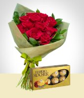Cakes & Chocolates - Tradition Combo: 12 Roses Bouquet + Ferrero Rocher Chocolates Box