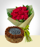 Cakes - Refinement Combo: Cake + 12 Roses Bouquet: