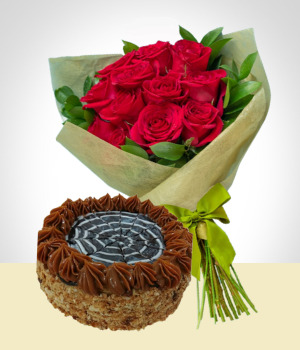 Send Flowers to :  Refinement Combo: Cake + 12 Roses Bouquet: