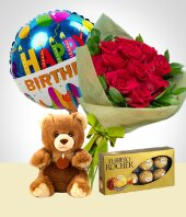 Bouquets - Birthday Combo A : 12 Roses Bouquet + Bear + Chocolates + Happy Birthday Balloon