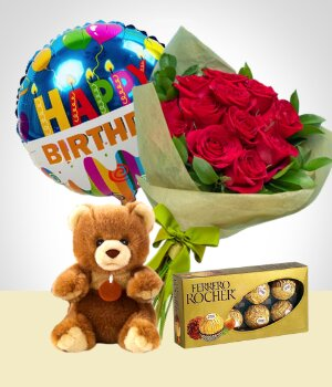 Send Flowers to :  Birthday Combo A : 12 Roses Bouquet + Bear + Chocolates + Happy Birthday Balloon