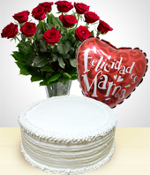 Cakes & Chocolates - Happy Mother's Day Combo: Cake + 12 Roses Bouquet + Balloon
