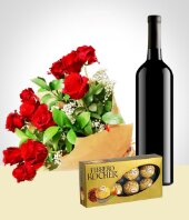 Cakes & Chocolates - Elegance Combo: 12 Roses Bouquet + Chocolates + Wine