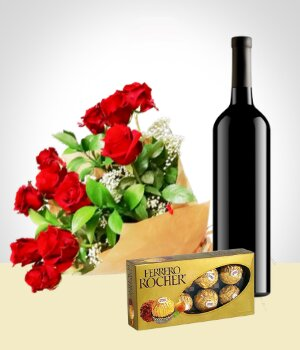 Send Flowers to :  Elegance Combo: 12 Roses Bouquet + Chocolates + Wine