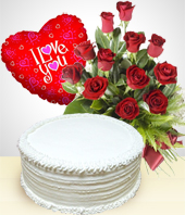 Cakes - Select Combo:  12 Roses Bouquet + Cake + Balloon