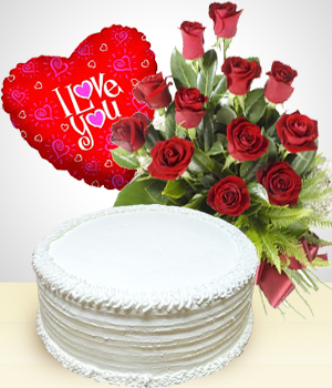 Send Flowers to :  Select Combo:  12 Roses Bouquet + Cake + Balloon