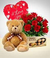 Chocolates - Fullness Combo: 12 Roses + Teddy Bear + Balloon + Chocolate