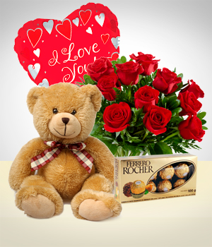 Send Flowers to :  Fullness Combo: 12 Roses + Teddy Bear + Balloon + Chocolate