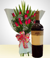 I'm Sorry... - Distinction Combo: 12 Roses Bouquet + Wine.