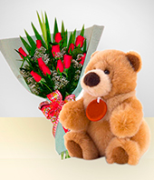 Plush Toys - 12 Roses Bouquet and Teddy Bear Special