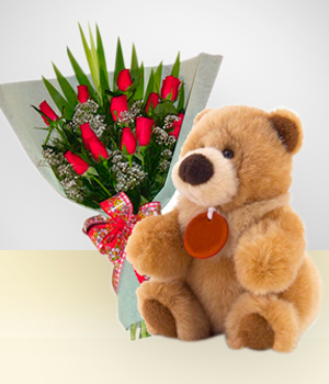 Send Flowers to :  Caprice Combo: 12 Roses Bouquet + Teddy Bear: