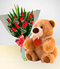 Caprice Combo: 12 Roses Bouquet + Teddy Bear: