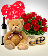 Plush Toys - Total Love Combo: 12 Roses Bouquet + Teddy Bear + Balloon + Wine + Chocolates