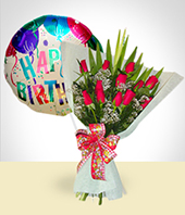Bouquets - Birthday Combo B: 12 Roses Bouquet + Happy Birthday Balloon