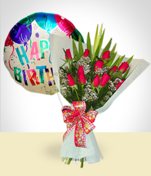 Send Flowers to :  Birthday Combo B: 12 Roses Bouquet + Happy Birthday Balloon