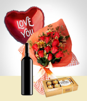 Chocolates - Inspiration Combo: 12 Roses Bouquet + Balloon + Wine + Chocolates