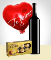 Cakes & Chocolates - Velvet Combo: Wine + Chocolate + Balloon