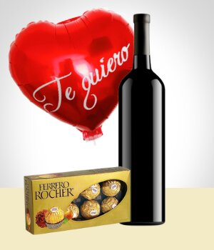 Gifts for Men - Velvet Combo: Wine + Chocolate + Balloon