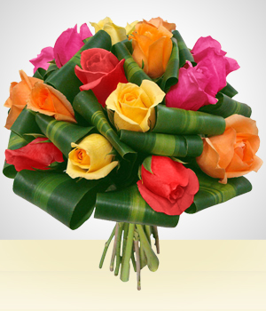 Send Flowers to :  Dreaming Bouquet: 12 Multicolored Roses